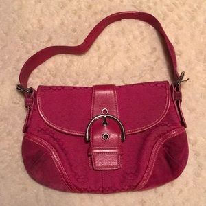 Coach, Pink Suede and Leather Shoulder Bag